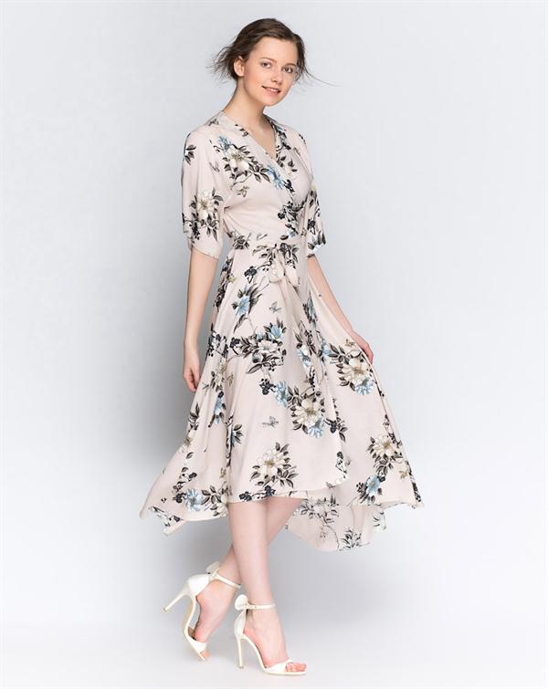 Makeitupto - SelinBaltacıoğlu Krem Çiçekli Kruvaze Elbise - 159,95 TL